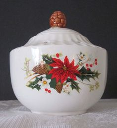 Christmas Poinsettia Holly Spray China Potpourri Container