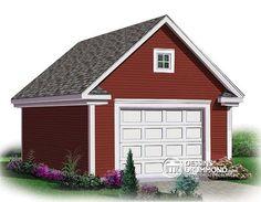 Garage pour une seule voiture, 16' x 24', avec rangement à l'étage, Modèle no. 2977-16 (plusieurs options de format sont disponibles)
