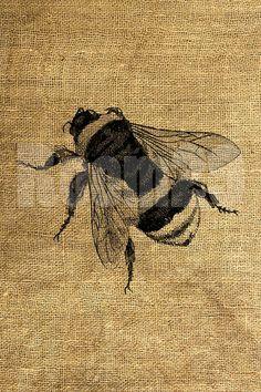 INSTANT DOWNLOAD Big Bee Vintage Illustration - Download and Print - Image Transfer - Digital Sheet by Room29 - Sheet no. 413 on Etsy, $3.00