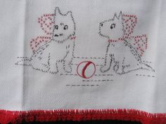 Vintage Hand Embroidered Scottie Dog Tea Towel by jenEembroidery, $18.00