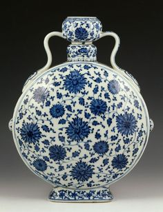"Chinese Blue and White moon vase, porcelain, with Qianlong mark, 13 1/2"" h x 10"" w x 3"" d."