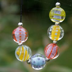Lampwork bead set by perle-e-pop, apparently working at Base 3, Adelie Land, Antarctica.
