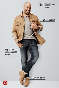 This workwear-inspired Goodfellow & Co jacket is a time-tested style, and its 100% cotton canvas fabric makes it perfect for transitional weather. It'll easily work for any casual situation, so throw it over a Henley and get out there. Bonus: this entire outfit comes in Big & Tall sizes.