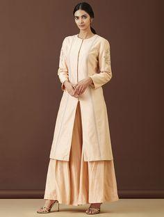 7269d4a1214 Buy Peach Embroidered Handwoven Cotton Kurta with Pants (Set of 2) Women  Kurtas Dreamy