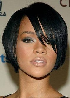 "6"" Rihannabob Short Popular Straight #1 Full Lace Wigs"