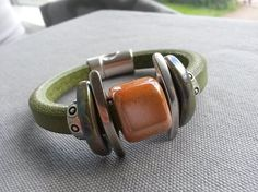 Moss Green Regaliz Leather Bracelet for Women Thick by IMKdesign
