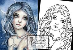 Digital Stamp, Printable, Instant download, Digi stamp, Coloring page, Art of Janna Prosvirina by Jannafairyart on Etsy Fairy Art, Digital Stamps, Coloring Pages, Printables, Illustrations, Handmade Gifts, Etsy, Vintage, Drawing Drawing