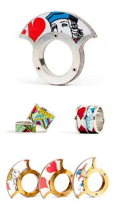 French designer Morgane Fieschi doesn't need to have the cards stacked in her favour — these rings earn kudos, fair and square! Funky Jewelry, Unusual Jewelry, Resin Jewelry, Unique Rings, Modern Jewelry, Jewelry Crafts, Jewelry Art, Jewelry Rings, Jewelery