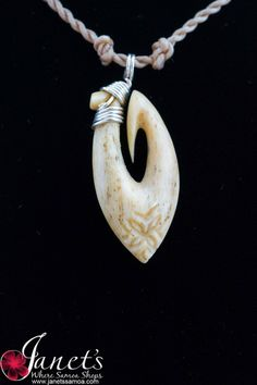 Janet's - Silver Whale Hook BRPW46, 137.50 AUD (http://www.janetssamoa.com/silver-whale-hook-brpw46/) Whale Ivory Carved in to South Pacific Gill Fish Hook Finished with fine Samoan Carvings and Motifs. Afa (Coconut Husk) Holds Whale Bone
