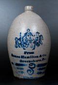 Very Rare Hamilton & Jones / Greensboro, PA Stoneware Jug w/ Stenciled Figural Scene
