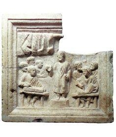 Rilievo con figure di notarii (età tardoantica) Ostia, Museo Ostiense - Archeo