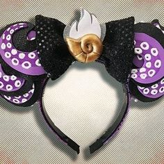 Lots of folks are picking these Ursula ears up for Halloween! They continue to be a favorite of ours! Diy Disney Ears, Disney Mickey Ears, Disney Bows, Disney Diy, Disney Crafts, Cute Disney, Diy Mickey Mouse Ears, Disney Stuff, Disney Headbands