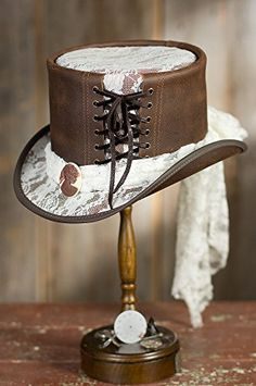 Steampunk Havisham Leather Top Hat, CHESTNUT/WHITE LACE, Size S Overland Sheepskin Co http://www.amazon.com/dp/B00PTUJQ3I/ref=cm_sw_r_pi_dp_DRSNub04B9S62