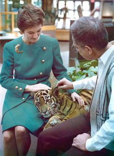 "Gail Yanney, left, membership drive chairman for the Henry Doorly Zoo, and Dr. Lee Simmons pet a 7-month-old Sumatran tiger, a member of the smallest and most endangered tiger species, in February 1991. The two were providing a taste of Omaha's renowned animal collection at the kickoff of the zoo's annual membership drive. ""Catch Jungle Fever"" was the theme. THE WORLD-HERALD"