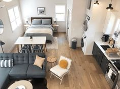 Studio Apartment Living, Studio Apartment Layout, Design Apartment, Studio Apartment Decorating, Studio Living, Apartment Ideas, Men Apartment, Garage Apartment Interior, Ikea Small Apartment