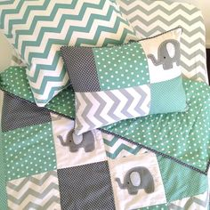 Image of PREORDER- Pachy Elephant Baby Crib quilt in mint green and grey