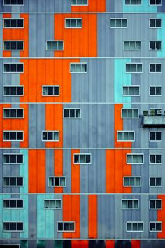 No word on where this is, just love the injection of colourful forms in what would otherwise be a drab facade. Architecture Design, Facade Design, Sustainable Architecture, Contemporary Architecture, Building Facade, Blue Building, Building Ideas, Bauhaus, Arch House