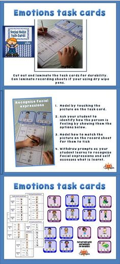 Social Skills Task cards for students with Autism, an exciting tried and test activity! This product offers students with autism the opportunity to practice identifying facial expressions and emotions as well as verb recognition. Also a great resource for vocabulary practice.  Task cards with task card answer sheets for self assessment. Included in this produce:-  8 Emotions task cards 7 Verb recognition task cards  I laminated my task cards and answer sheets to use dry wipe pens or you could ju