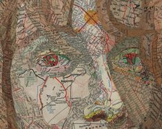 Detail of a map collage by Dallas, Texas, artist Matthew Cusik