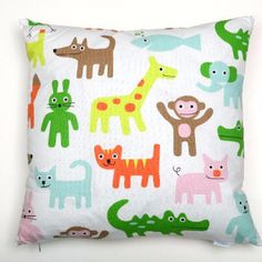 Mairo Zoo Animal Cushion Cover: Beautiful cotton Zoo AnimalCushion Cover by Mairo. This cushion cover is illustrated with bright animals that can be found in the wild and a zoo. It will bring a splash of colour and fun to a play room children's bedroom or nursery. No cushion filler - price for cover only.