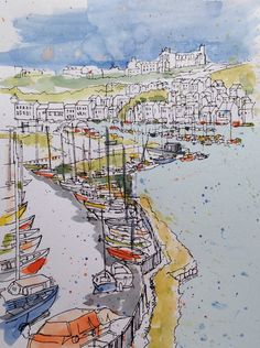 Another colour trial on a print- this time the Whitby marina drawing