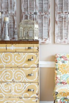 beautiful hand painted dresser in MMS Milk Paint Mustard Seed Yellow