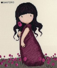 Pink Poppy Gorjuss cross stitch kit