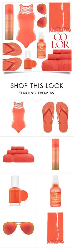 """coral swimsuit"" by rehannah-o ❤ liked on Polyvore featuring Seafolly, Havaianas, Essie, Bumble and bumble, Quay and Turkish-T"