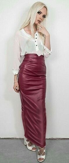 Long maroon leather hobble skirt