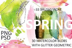 SPRING 63 PNG! WATERCOLOR BLOBS+GOLD by holaholga on @creativemarket