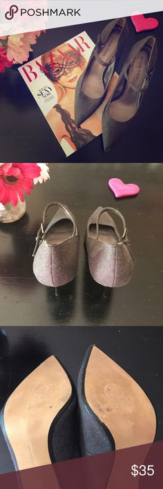 Gray Fabric Pumps Adrienne Vittadini Gray Fabric Pumps. Leather Reinforced Buckle. Worn once. 9 Adrienne Vittadini Shoes Heels