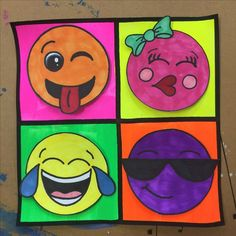 Pop art inspired emoji art project for 3rd -5th grade students. Art created by Meredith Terry. Elementary art lesson.