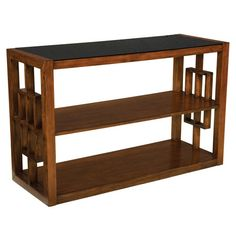 Black glass-topped wood console table with lattice sides and two bottom shelves.   Product: Console tableConstruction Ma...