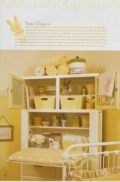 Page From Mary Engelbreit Home Companion. Love The Hoosier Cabinet  Converted To Changing Table/storage.