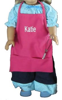 Mini Sized Aprons for Dolls by Growing Cooks   Matches toddler & child sized aprons.