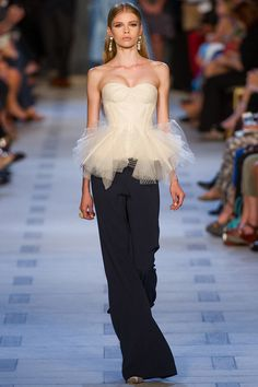 """""""Bustier tops paired with cocktail skirts and wide-leg trousers."""" Zac Posen Spring 2013 RTW"""
