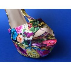 Sandalo alto Donna motivo Floreale Giallo tacco 15 plateau 4