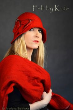 "Merino wool wet felted red hat and scarf - ""Felt by Kate "" https://www.facebook.com/FeltbyKate/"