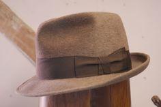 Stunning Rare Vtg Barbisio Italian Brown Fur Felt Stingy Fedora Trilby EU 58