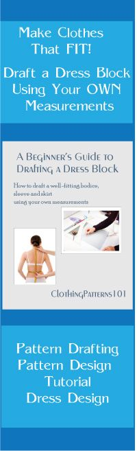Learn to draft a dress block that fits YOU, using your own measurements.  Make dresses, skirts, blouses and tops using your own dress block. Learn pattern drafting and design your own sewing patterns.
