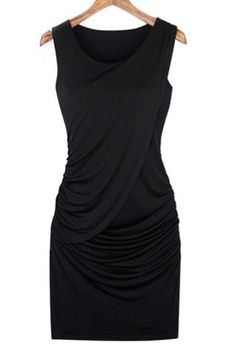 Stunning Scoop Neck Sleeveless Ruffled Dress For Women
