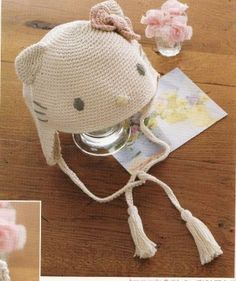 Crochê Tricô: Touca Infantil Hello Kitty em Crochê