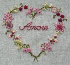 KIT DE BRODERIE-AMORE- - patron broderie - Coeur de freesia Créations - Fait Maison