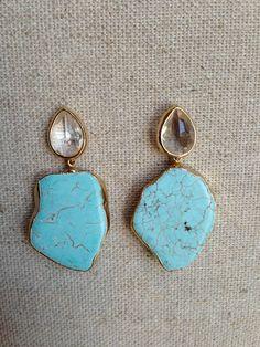 Quartz Stud Earring with Turquoise Slab Pendant by Goldenstrand Jewelry www.goldenstrandjewelry.com
