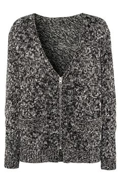 i wanted a speckled sweater..! :( Grey Long Sleeve Snowflake Zipper Cardigan Sweater - Sheinside.com