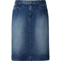 WOMEN Denim Skirt ($34) ❤ liked on Polyvore featuring skirts, blue denim skirt, knee length denim skirt, uniqlo, knee high skirts and denim skirt