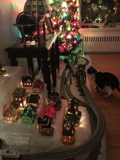 Christmas village, Lionel trains and a fat cat!