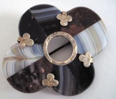 SCOTTISH AGATE AND SILVER BROOCH, c1940/50's