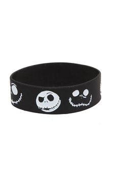 Disney Nightmare Before Christmas Jack Rubber Bracelet. This black rubber bracelet features the many faces of Jack Skellington. 1 wide Imported. Price: $7.00
