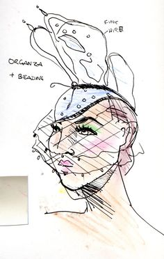 created by me - Gwen Coppari Hat design - ink and pastels Fashion Illustrations, Pastels, Ink, Create, Drawings, My Style, Hats, Design, Hat